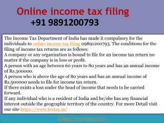 Is it Necessary to Online income tax filing 09891200793?