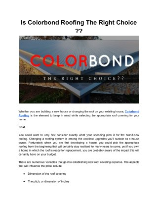 Why Colorbond Roofing is the Right Choice?