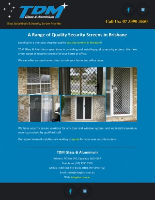 A Range of Quality Security Screens in Brisbane