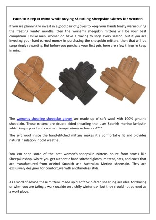 Facts to Keep in Mind while Buying Shearling Sheepskin Gloves for Women