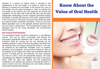 Know About the Value of Oral Health