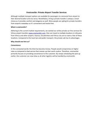 Vnotransfer: Private Airport Transfer Services