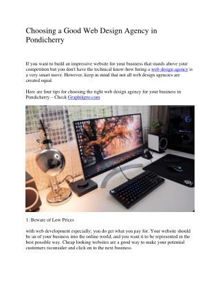 Choosing a Good Web Design Agency in Pondicherry