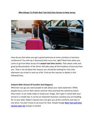 Why Always To Prefer Best Taxi And Limo Service In New Jersey
