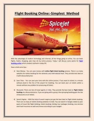 Flight Booking Online:-Simplest Method