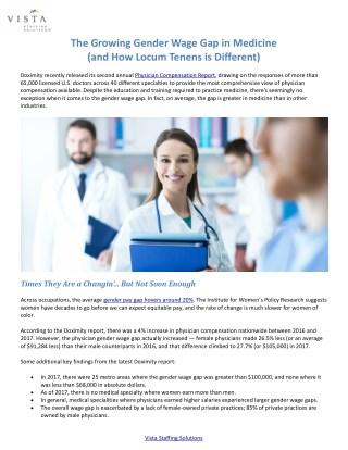 The Growing Gender Wage Gap in Medicine