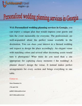 Personalized wedding planning services in Georgia