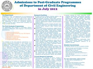Admissions to Post-Graduate Programmes  of Department of Civil Engineering  in July 2012