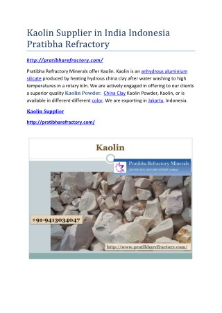 Kaolin Supplier in India Indonesia Pratibha Refractory
