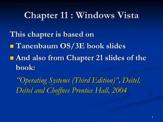 Chapter 11 : Windows  Vista