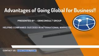 What are the Advantages of Going Global for Business!!