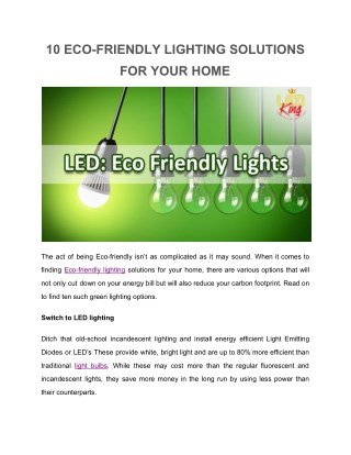 10 eco friendly solutions