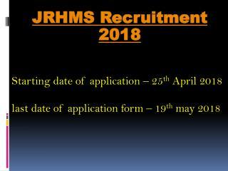 JRHMS Recruitment 2018