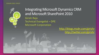 Integrating Microsoft Dynamics CRM  and  Microsoft SharePoint 2010