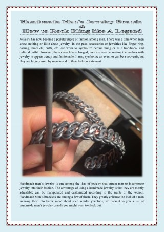Handmade Men's Jewelry Brands & How to Rock Bling like A Legend