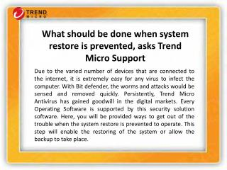 What ought to be done system reestablish is avoided, asks Trend Micro Support