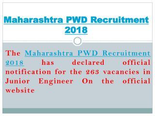 Maharashtra PWD Recruitment 2018