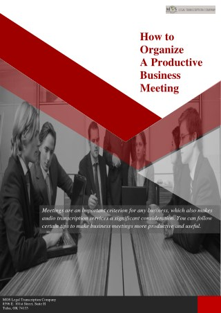 How to Organize a Productive Business Meeting