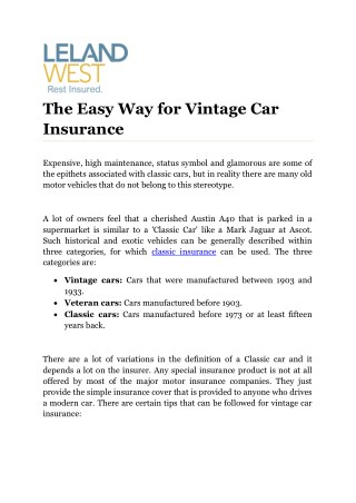The Easy Way for Vintage Car Insurance