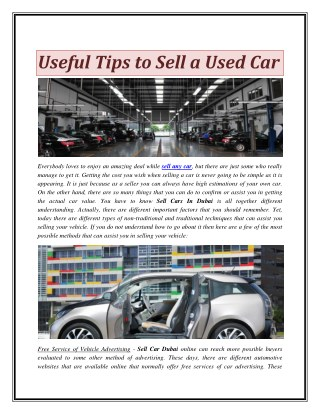 Useful Tips to Sell a Used Car