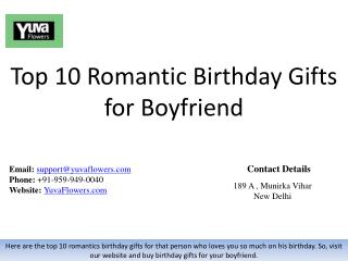 Top 10 Romantic Birthday Gifts for Boyfriend