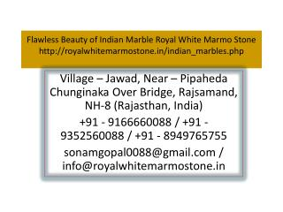 Flawless Beauty of Indian Marble Royal White Marmo Stone