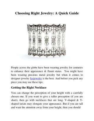 Choosing Right Jewelry: A Quick Guide