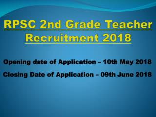 RPSC 2nd Grade Teacher Job 2018