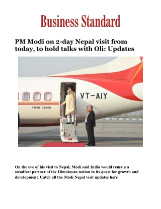 PM Modi on 2-day Nepal visit from today, to hold talks with Oli: Updates