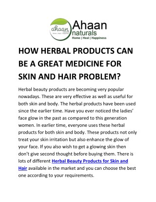 HOW HERBAL PRODUCTS CAN BE A GREAT MEDICINE FOR SKIN AND HAIR PROBLEM?