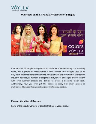 Overview on the 3 Popular Varieties of Bangles