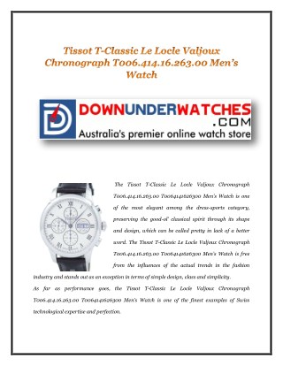 Tissot T-Classic Le Locle Valjoux Chronograph T006.414.16.263.00 Men's Watch