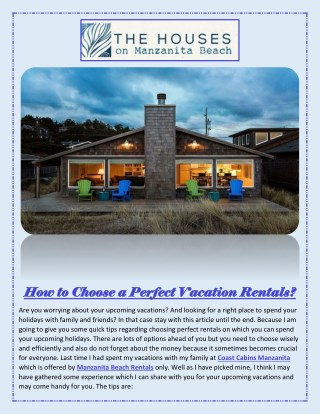 How to choose a perfect vacation rentals?