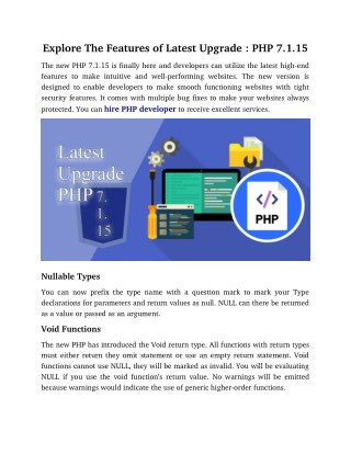 Explore The Features of Latest Upgrade - PHP 7.1.15