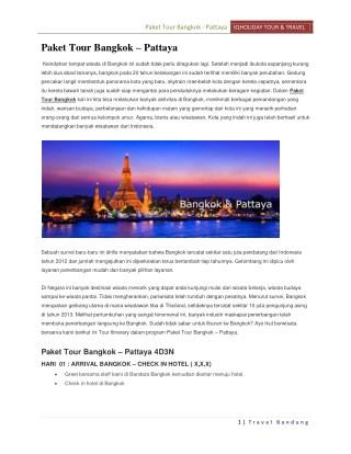 Paket Tour Bangkok - Pattaya