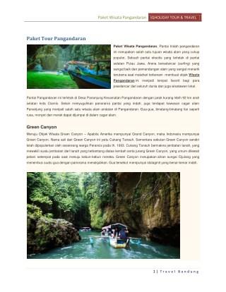 Paket Wisata Pangandaran dan Tour Green Canyon