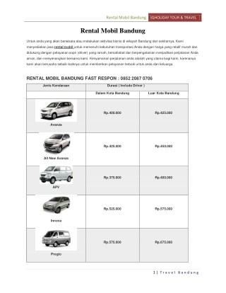Rental Mobil Bandung & Sewa Bis Pariwisata