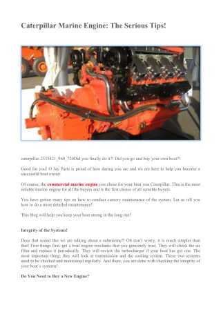 Caterpillar Marine Engine: The Serious Tips!