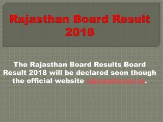 Rajasthan Board Result 2018