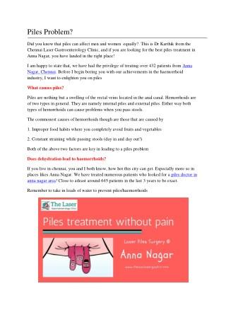 Choosing a Piles Treatment in Anna Nagar
