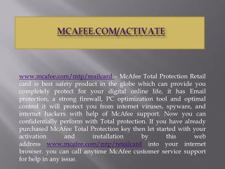 McAfee.com/Activate - East steps to Download, Install and Use McAfee