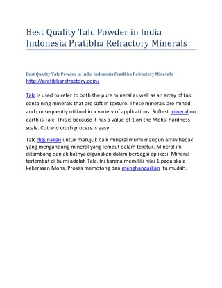 Best Quality Talc Powder in India Indonesia Pratibha Refractory Minerals