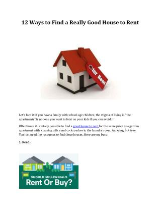 12 Ways to Find a Really Good House to Rent