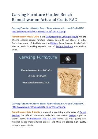 Carving Furniture Garden Bench Rameshwaram Arts and Crafts RAC