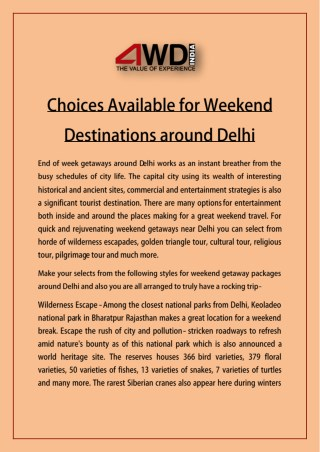 Choices Available for Weekend Destinations around Delhi