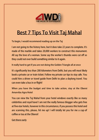 Best 7 Tips To Visit Taj Mahal