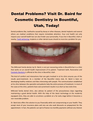 Dental Problems? Visit Dr. Baird for Cosmetic Dentistry in Bountiful, Utah, Today!