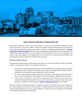 Have a Glance at Workers Compensation Act