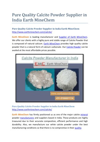 Pure Quality Calcite Powder Supplier in India Earth MineChem