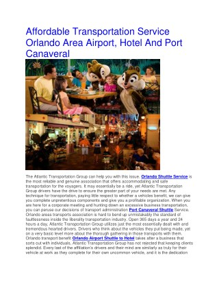 Affordable Transportation Service Orlando Area Airport, Hotel And Port Canaveral